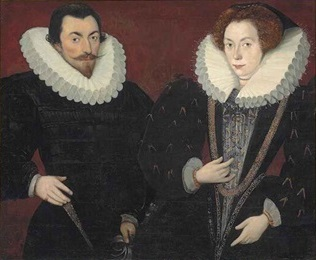 A man and woman in full Elizabethan dress with impressively large white ruffs.