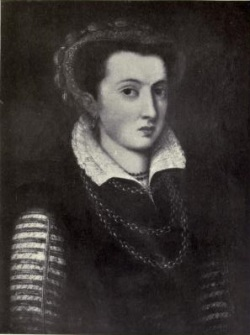 A black and white photograph of a portrait of a young woman in a dark gown with striped sleeves.