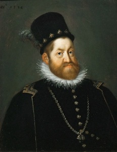 The portrait show a solidly-built bearded nan with the long Habsburg chin.
