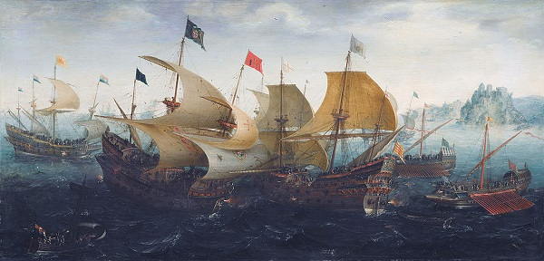 English and Dutch warships engaging Spanish ships and galleys.