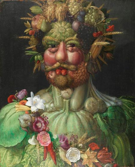 A face and shoulders made up of an array of fruits and vegetables.