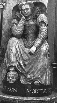 A seated young woman with her head propped on her hand, looking as though she has fallen asleep. Her right foot rests on a skull.