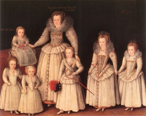 A feature of this painting is the similarity of dress in little boys and girls: all are wearing skirts, or what the Elizabethans called petticoats. The elder boy is shown with a little sword and plumed hat to emphasise his sex, but he wouldn't have normally worn these.