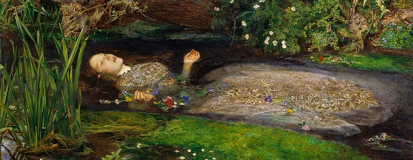 Ophelia in her wet element. From Sir John Millais' famous painting, held by Tate Britain. Were Nero to attempt so tragickal a scene, he would probably have to put his feet as well as his paws above water, and his lack of tail might affect his balance.