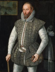 A well-dressed Elizabethan man, holding a walking-stick in his right hand.