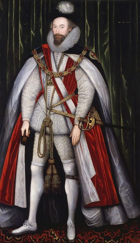 A man dressed in expensive white doublet and hose and wearing the long red robe of a Knight of the Garter