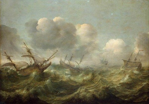 Sailing ships being tossed on high seas.