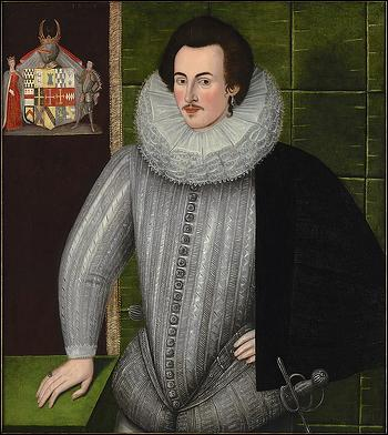 Charles Blount, Lord Mountjoy, painted c1594 by an unknown artist. Via Wikimedia Commons.