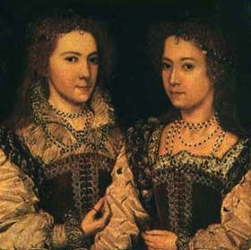 A rather dark portrait of two expensively, but relatively simply dressed young Elizabethan women.
