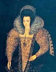 A thin-faced, dark-haired woman in formal Elizabethan attire.