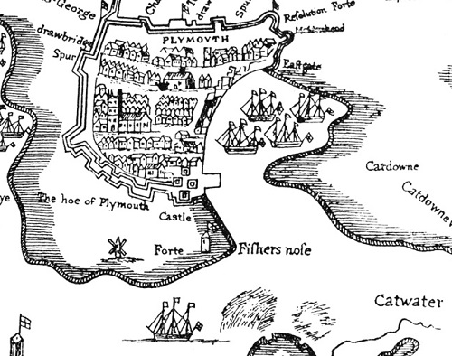 A black and white drawing of a small fortified town, showing the whereabouts of the Catwater.