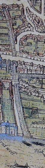 The Fleet River, from a 1572 map of London. The river runs from north to south, coming into the Thames at Blackfriars.  The prison is on the east side above Fleet Street.