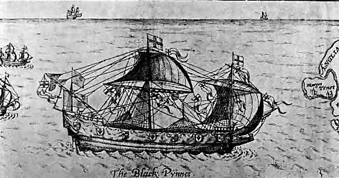 An Elizabethan Pinnace, from ain illustration in Julian S. Corbett's 'Drake and the Tudor Navy' (1917) via the Internet Archive.