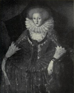 A black and white photo of the portrait of a young Elizabethan woman, formally dressed and holding a fan.