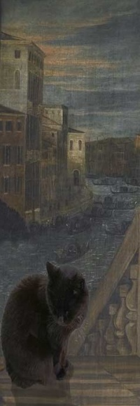 A black cat seated before a painting of Venice.