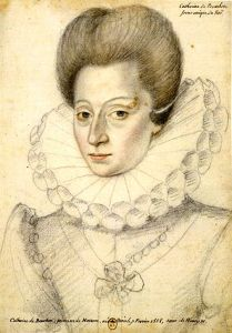 A sketch of a grave-faced but attractive woman with bouffant hair.