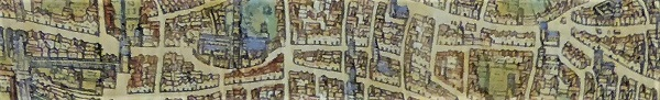A small section from a 1572 map of London.