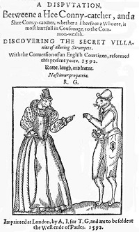 A pen and ink drawing of a female rabbit and a male rabbit in Elizabethan dress.