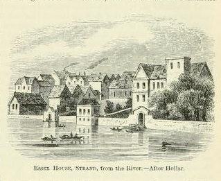 An engraving of Essex House viewed from the Thames, showing the river wall and gate to the landing stairs.