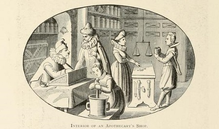 A young man (probably an apprentice) is serving a female customer, and a woman (the apothecary's wife or daughter?) is preparing a mixture. Two men are at a desk - one, seated, is writing down what they are discussing.