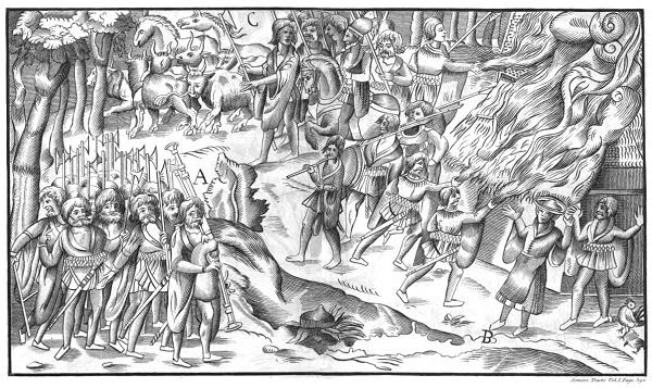 A cartoon-style woodcut of an Irish raid on a homestead.
