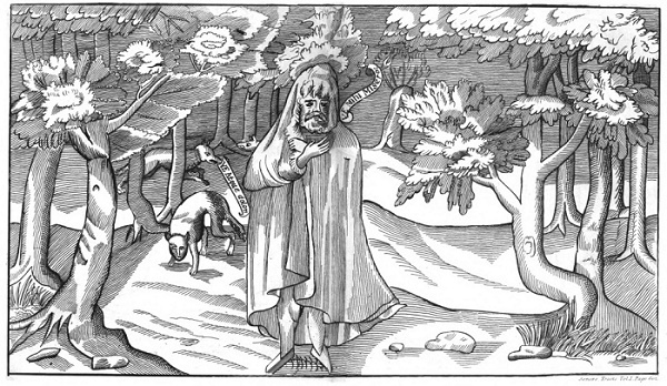 A cartoon-style woodcut of an Irish chieftain alone in a wood with prowling wolves.