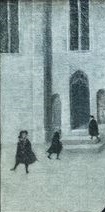 A small picture of a few people in a snowy street.