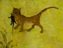 A cat carrying a rat in its mouth - a tiny detail from Hieronymous Bosch painting of The Garden of Earthly Delights.