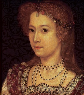 A dark-eyed woman with loosely arranged reddish gold hair.