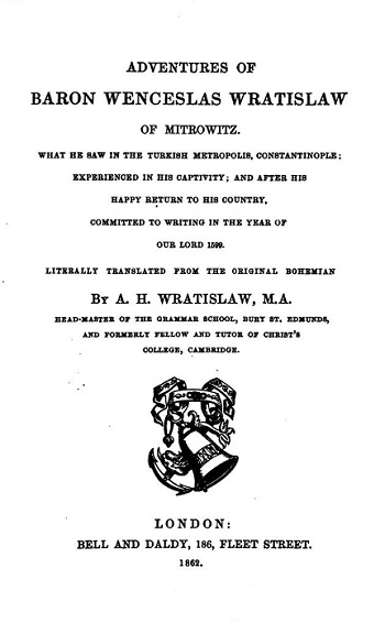 Title page of the English translation of Wratislaw's adventures, published 1862.