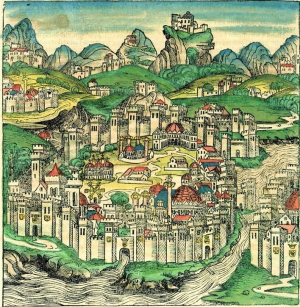 A brightly coloured drawing of a walled seaside city.