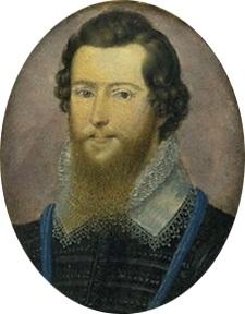 A fair-skinned young man with medium-length dark wavy hair and a light-brown spade-shaped beard.
