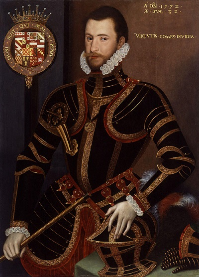 A handsome young man wearing decorated field armour. In the left-hand corner of the portrait is the motto of Knights of the Garter, surmounted by an Earl's coronet.