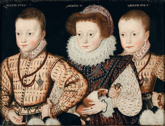 A girl of 7 in formal Elizabethan attire flanked by her two brothers, one aged 6 and the other 5. The little boys are wearing elaborate, matching doublets, and the younger is holding a small bird.