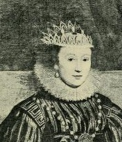 A black and white photo of a portrait of a sweet-faced Elizabethan woman