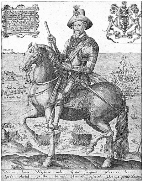 An engraving of the Earl of Essex on horseback, with sketches of his military sites in the background: Cadiz, the Azores, Ireland.
