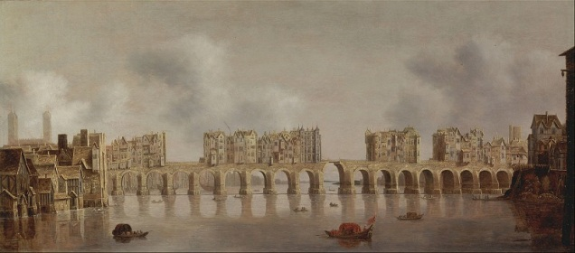 A stone bridge with narrow arches, lined with buildings - though there are gaps, including al least one with a drawbridge to allow tall-masted ships to pass.