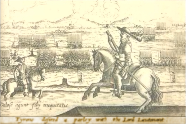 An engraving of two men on horseback. The Earl of Essex is on the bank, the Earl of Tyrone is in the river.
