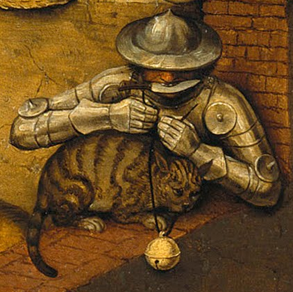 A soldier preparing to tie a round bell about a sullen-looking cat's neck.