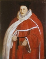 An elderly man in red fur-trimmed robes.