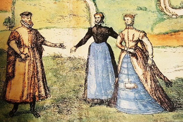 A drawing of a mature well-dressed man extending his hand to two women.