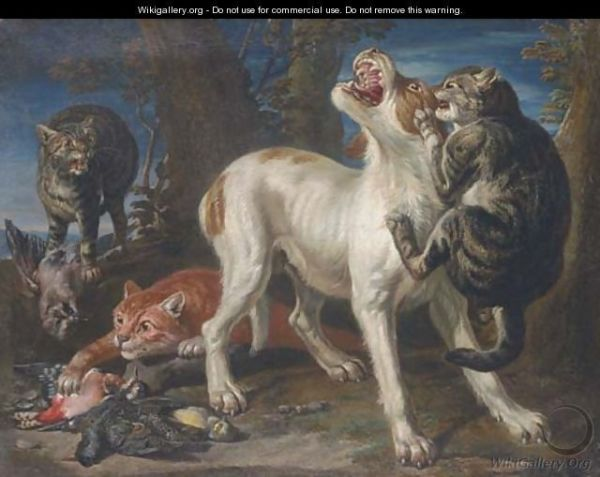 A large tabby cat attacks a dog, clinging to its neck and chest and biting its ear, while two other cats - one dark tabby and one ginger - steal the game birds the dog was guarding.