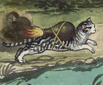 A drawing of a grey and white tabby cat racing along with an incendiary device which looks like a rocket pack strapped to its back.