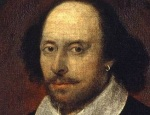 A portrait of a full-faced, balding man that is accepted as one of William Shakespeare because of the facial reseblance to his funeral monument and the engraving made for the First Folio.
