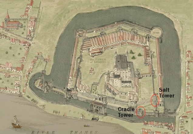 A map of the Tower of London, showing the area in the south-east corner where the escape was made