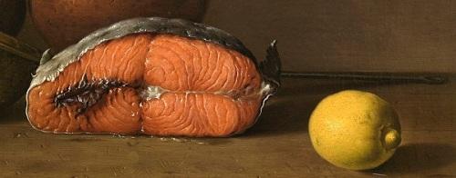 Cut salmon with a lemon